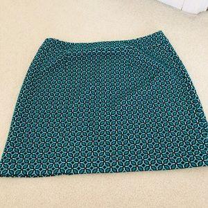 LOFT blue/black/white geometric mini skirt